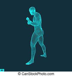 Boxer. Fighting Man. 3D Model of Man. Polygonal Design....