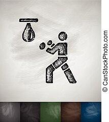 boxer icon. Hand drawn vector illustration