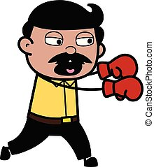 Boxer - Indian Cartoon Man Father Vector Illustration
