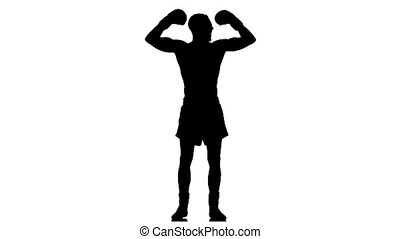 Boxer lightweight champion. Silhouette. Slow motion