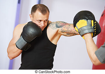 boxer man at boxing training with punch mitts - boxer man...