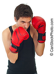 Boxer man defending - Young boxer man defending isolated on...