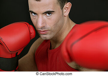 Boxer on black background