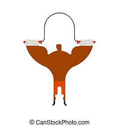 boxer on rope jump Training. Fitness exercises. sportsman isolated