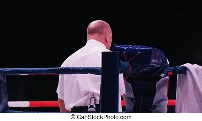 Boxer on the ring. The judge is watching the fighting. Back view