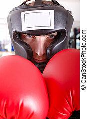 .boxer, primer plano, cara