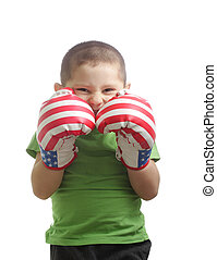 Little boxer protecting face photo over white