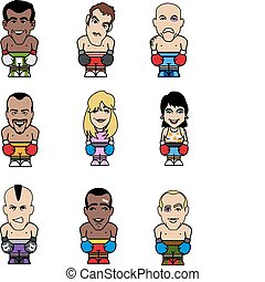 Boxer puppets - Nine puppets of funny boxers (seven men, two...