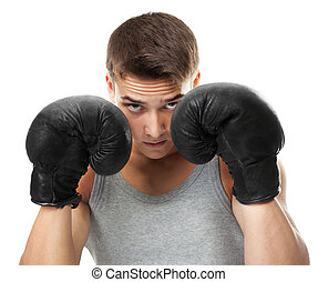 Boxer ready to figh - Close up portrait of young boxer ready...