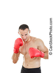 boxer ready to fight with boxing gloves in a combat stance