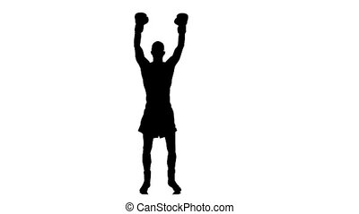 Boxer rejoice by winning the match. Silhouette in slow motion