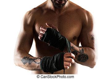 boxer, seine, bänder, setzt, hände