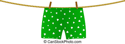 Boxer shorts hanging on rope - Boxer shorts with white...