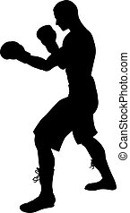 Boxer Silhouette - A detailed silhouette of a boxer with...