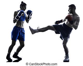 boxer, silhouette, boxen, freigestellt, mann, kickboxing, frau
