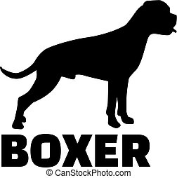 Boxer silhouette with breed name