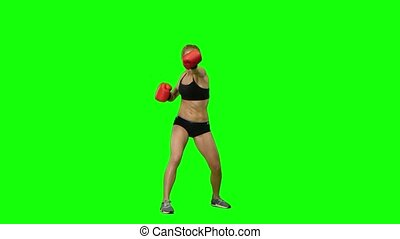 Boxer standing in the front and sends butted an opponent standing on the spot. Green screen