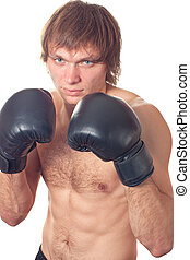 Boxer - Young caucasian Man boxer with black boxing gloves...