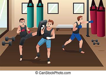 A vector illustration of boxer training in the gym