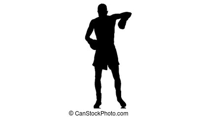 Boxer warming up before the fight. Silhouette, slow motion
