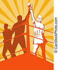 Boxer winning in the ring - Illustration of a boxer winning...