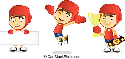 Boxer with board vector art illustration