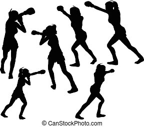 boxer woman vector silhouette - EPS 10 vector illustration...