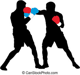 Boxers - Abstract illustration of boxing men silhouettes