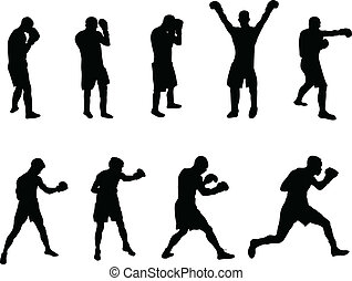 boxers - boxing silhouettes