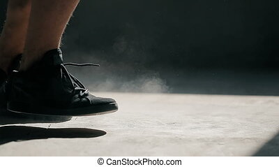 Boxer's Feet as Jumping Rope - Closeup of boxer's feet as he...