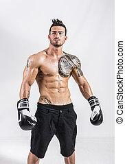 boxer's, gants, sans chemise, musculaire, homme