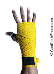 boxers hand with bandage
