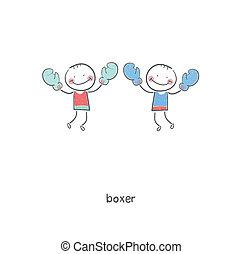 boxers., illustration.