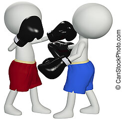 Boxers punch knockout in 3D boxing fight - Two boxers square...