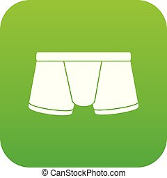 Boxers underpants icon green vector isolated on white...
