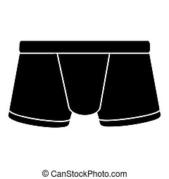 Boxers underpants icon, simple black style - Boxers...