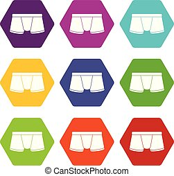 Boxers underpants icons set 9 vector - Boxers underpants...