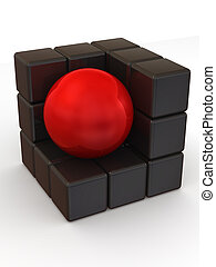 Boxes and sphere. Abstract image. 3d