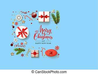 Boxes Blue holiday Christmas - Blue flat lay Christmas...