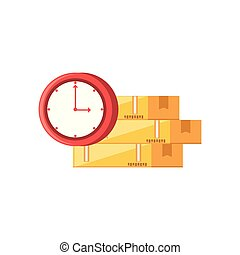boxes carton with clock time