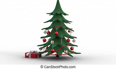 boxes., dehors, version, décoré, arbre noël, croissant, cadeau, rouges, zoom