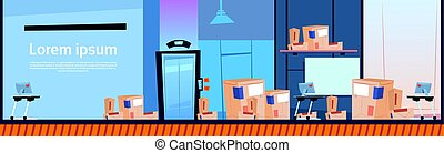 Boxes Delivery Package Post Service Warehouse Interior Banner Copy Space