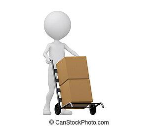 boxes-, folk, render, lastbilar, illustration, ikon, 3, hand, frakt, detta