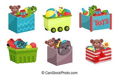 Boxes Full of Children Toys Vector Illustrated Set.