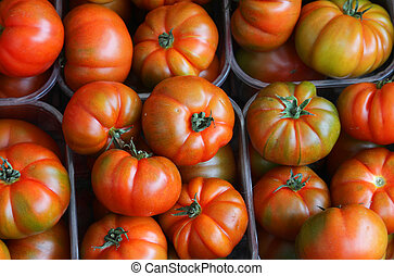 boxes full of red tomatoes for sale