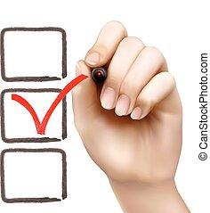 boxes., illustration, main, stylo, vecteur, chèque