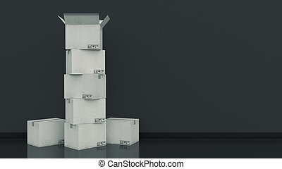 Boxes in empty room - 3D rendering