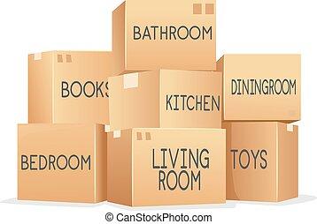 Boxes Moving Labels Illustration