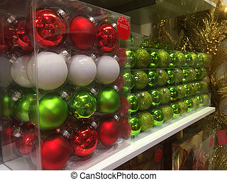 Boxes of Christmas tree baubles ready for purchase