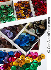 Boxes of colourful buttons